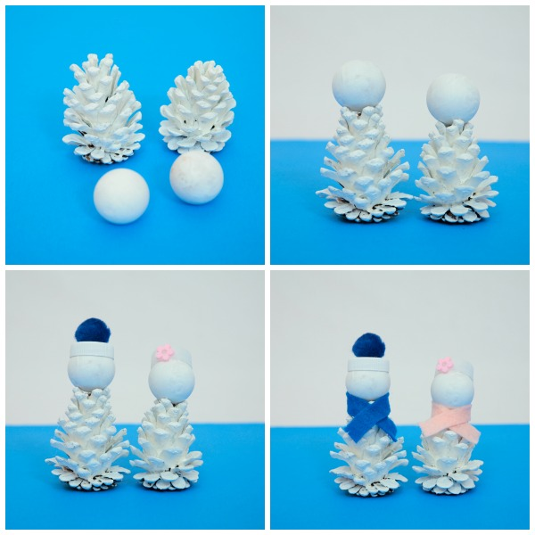 Pine cone snow friends: snowman and snow woman craft for kids