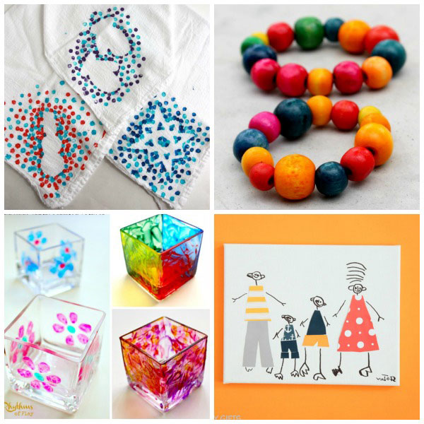 Gifts for kids to make for Christmas, Mother's Day, Father's Day, birthdays, friends or neighbors. Kids as young as toddlers, preschoolers or kindergartners can make these easy gifts. Simple and practical kid-made gifts.