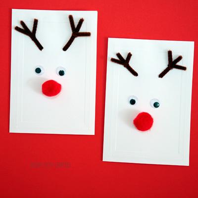 Kid-made Christmas reindeer cards
