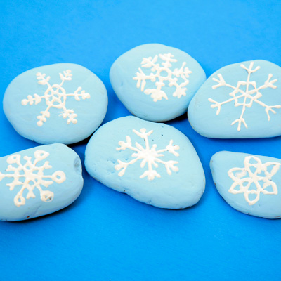 Snowflake painted stones