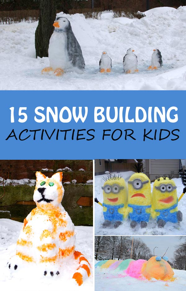 Snow building activities for kids to try this winter. Fun snow sculpture. | at Non-Toy Gifts