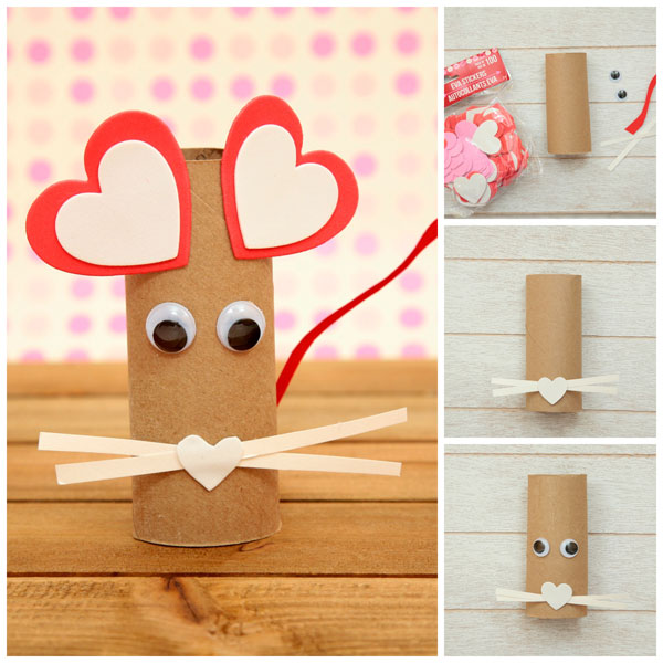 A fun paper roll heart mouse craft. It uses recycled items, googly eyes and heart stickers. Simple craft for kids as young as toddlers.
