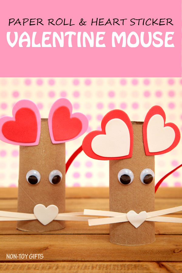 A fun paper roll heart mouse craft. It uses recycled items, googly eyes and heart stickers. Simple craft for kids as young as toddlers and preschoolers. Valentine heart animal craft
