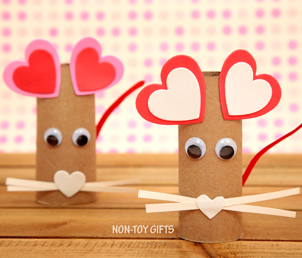 paper roll heart mouse craft