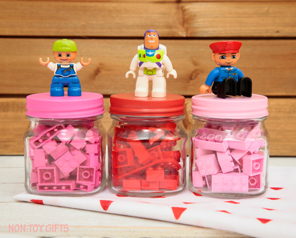 Diy Lego Valentines In Mini Jars For Kids Non Toy Gifts
