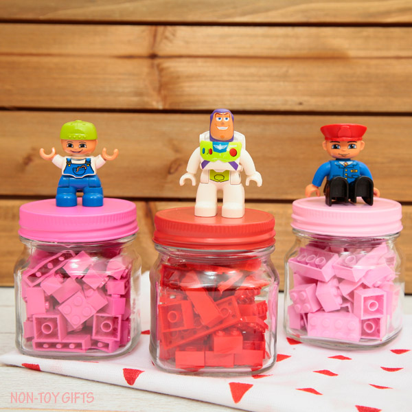 These LEGO Valentines in mini jars are great for kids who love to build and crate with LEGOs. Perfect if you are looking for non-candy Valentine ideas.