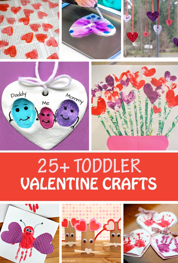 Toddler Valentine crafts: fingerprint frame, heart robots, heart garlands, coffee filter hearts, pom pom heart painting, tissue paper heart wreath, footprint love bug and more. Great also for preschoolers. #valentines #valentinesday #valentinecraft