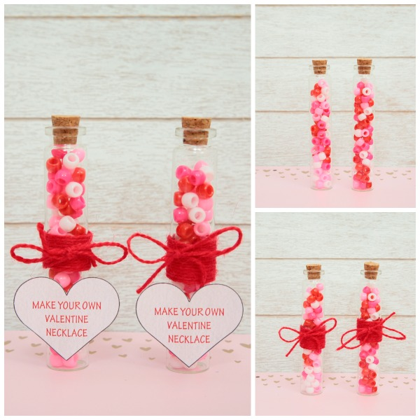 Make Your Own Valentine Necklace is a sweet and simple DIY Valentine favor that you can make for your kid's friends and classmates.