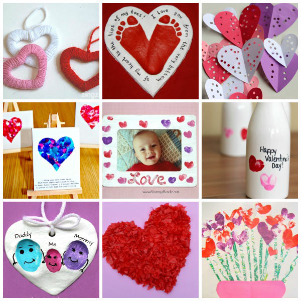 25+ easy Valentine crafts for toddlers: heart garland, heart robot, handprint love bug, fingerprint heart and more. | at Non-Toy Gifts