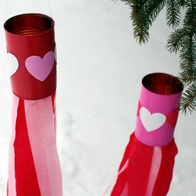 Valentine Kids Craft: Heart Windsocks