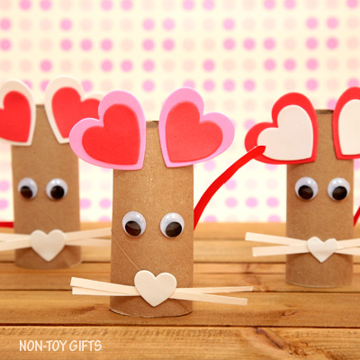 Paper Roll Heart Mouse Craft for Kids