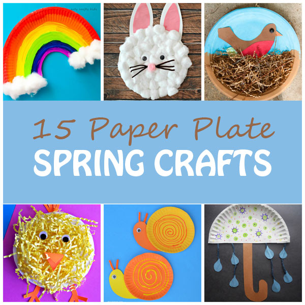 Paper plate spring crafts for kids: rainbow, bunny, nest with bird, chick, snails, umbrella and more. Easy crafts for preschool. | at Non-Toy Gifts
