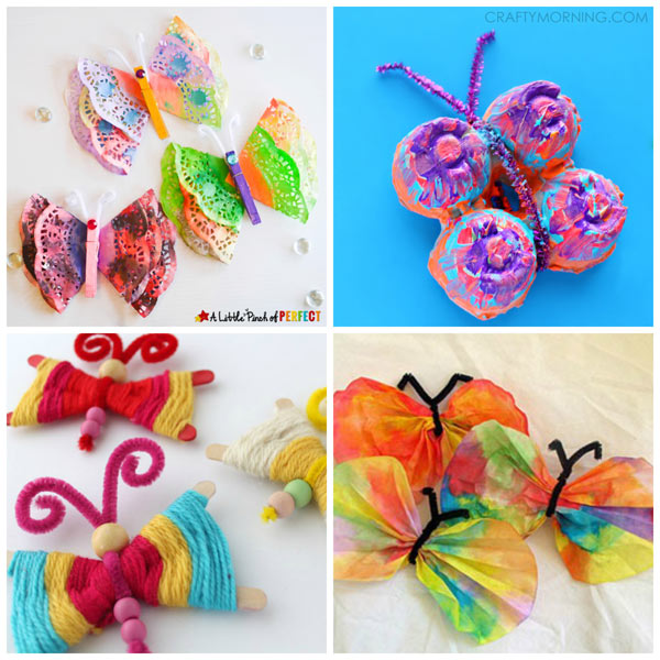 Butterfly crafts for kids to welcome spring. Easy classroom crafts for toddlers, preschool, kindergarten and older kids. | at Non-Toy Gifts