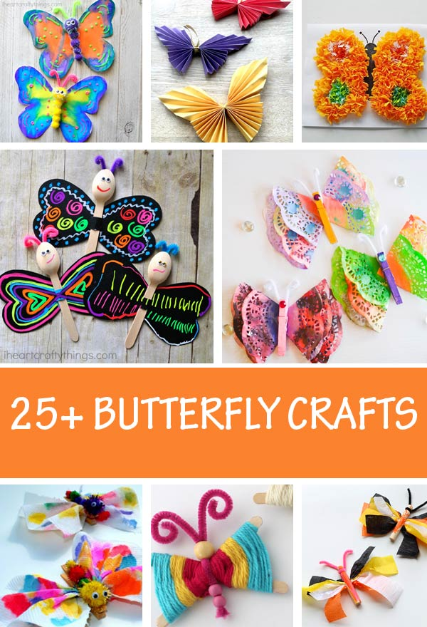 Butterfly crafts for kids to make this spring. Easy spring crafts for preschoolers and older kids #butterfly #nontoygifts #springcrafts