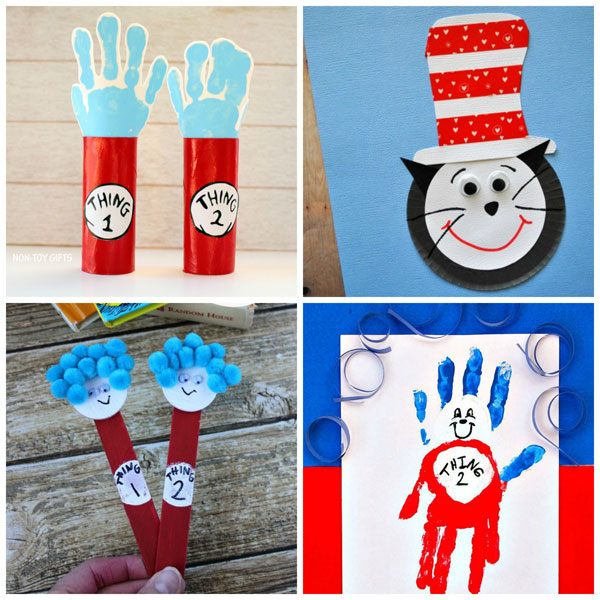 Cat in the Hat crafts for kids to celebrate Dr Seuss's birthday day. | at Non-Toy Gifts