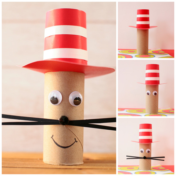 Paper roll Cat in the Hat craft for kids. Dr Seuss craft to get along with the book The Cat in the Hat. | at Non-Toy Gifts