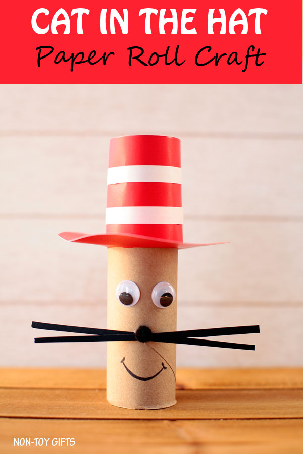 Paper roll Cat in the Hat craft for kids