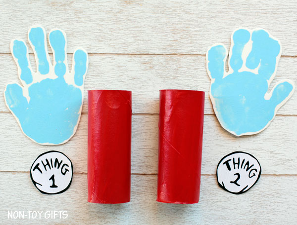 Dr Seuss Thing 1 and Thing 2 paper roll craft. Handprint craft to go along with Cat in the Hat book. | at Non-Toy Gifts