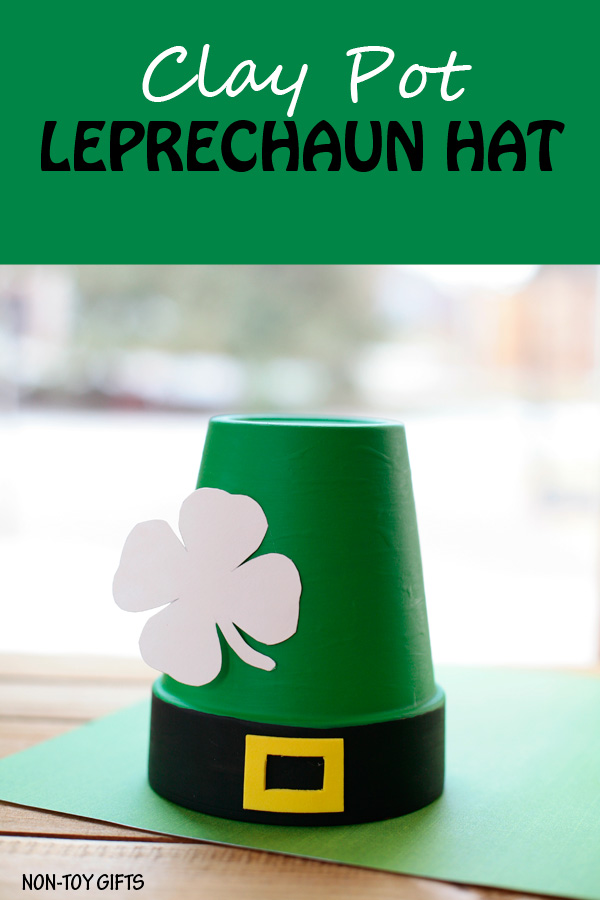 Clay pot leprechaun hat. St Patrick's Day craft for toddlers, preschoolers and older kids.  | at Non-Toy Gifts