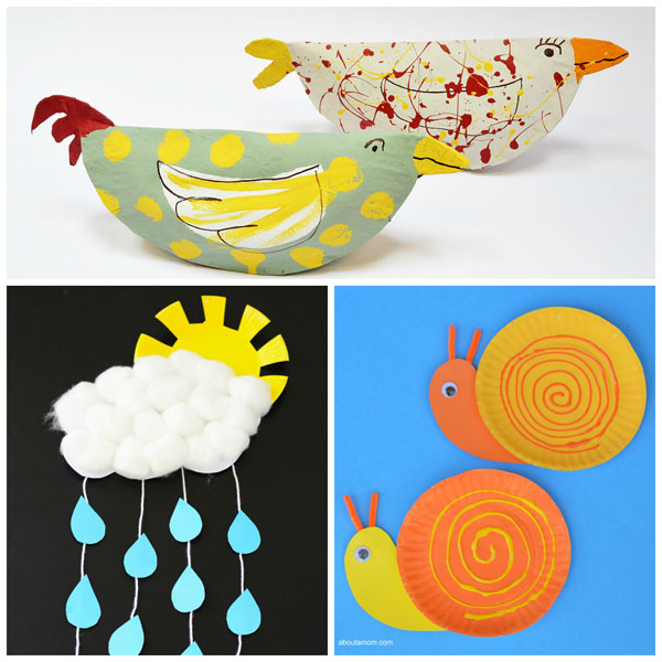 Paper plate spring crafts for kids birds sun with cloud snails. Easy  sc 1 st  Non-Toy Gifts & 15 Paper Plate Spring Crafts for Kids |