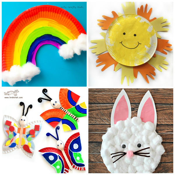 Paper plate spring crafts for kids: rainbow, sun, butterflies and rabbit. Easy crafts for preschool. | at Non-Toy Gifts