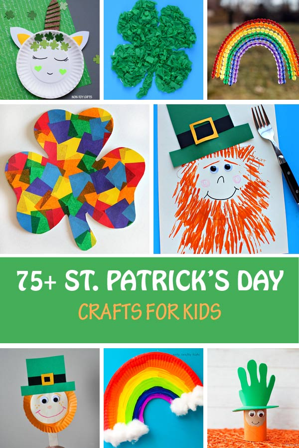 St Patrick's Day crafts for kids: shamrock, clover, rainbow and leprechaun craft ideas. Create with paper plates, paper rolls, handprints, tissue paper and more. #stpatricksday #nontoygifts #rainbowcraft #leprechaun