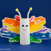 Paper Roll Rainbow Butterfly Craft for Kids
