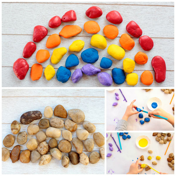 Painted stone rainbow craft for kids. Celebrate spring with a fun and easy craft for toddlers and older kids. | at Non-Toy Gifts