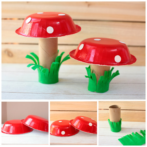 Paper bowl mushroom spring craft for kids. Use paper rolls and paper plates. Easy craft for toddlers and preschoolers. | at Non-Toy Gifts