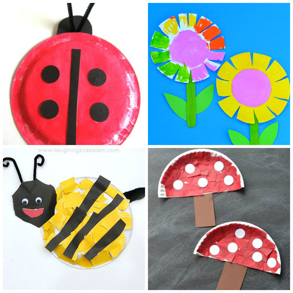 Paper plate spring crafts for kids: ladybug, flowers, bee and mushrooms. Easy crafts for toddlers and preschool. | at Non-Toy Gifts