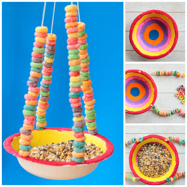 Paper bowl bird feeder for kids to make this spring. Watch birds in your own backyard. Made with Cheerios, this kid-made bird feeder is perfect for preschoolers and kindergarten. | at Non-Toy Gifts