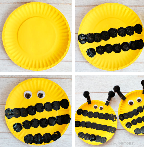 Paper plate bee collage