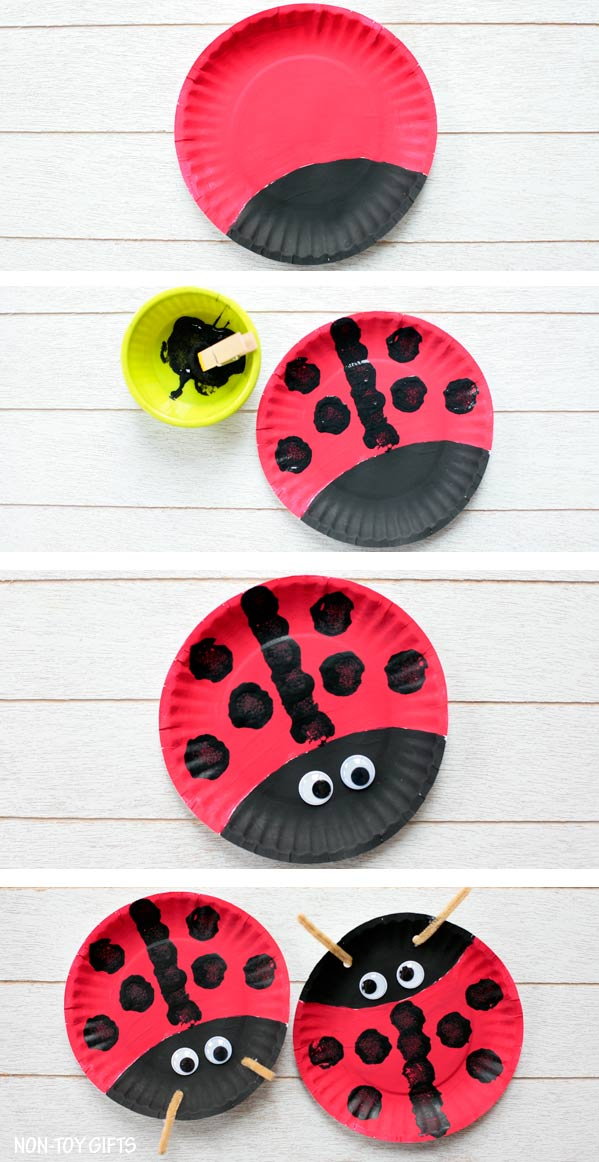 Easy paper plate ladybug craft for preschoolers and older kids. This easy spring craft is perfect for an insect and bug study unit in the classroom. | at Non-Toy Gifts