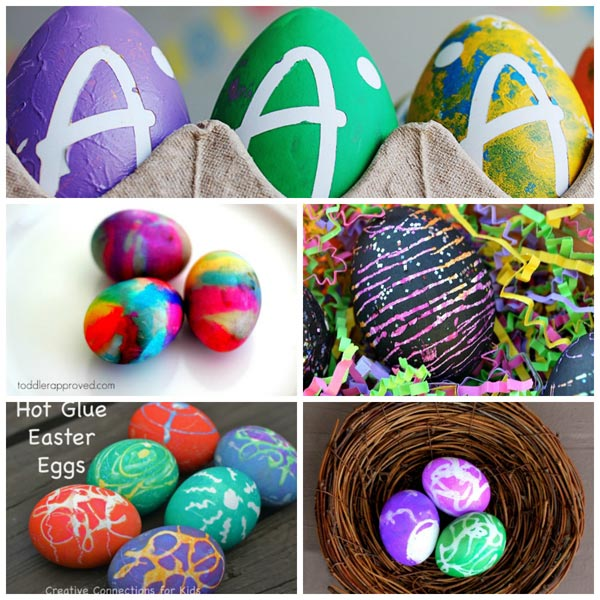 Ways for kids to decorate Easter eggs. Safe for babies and toddlers