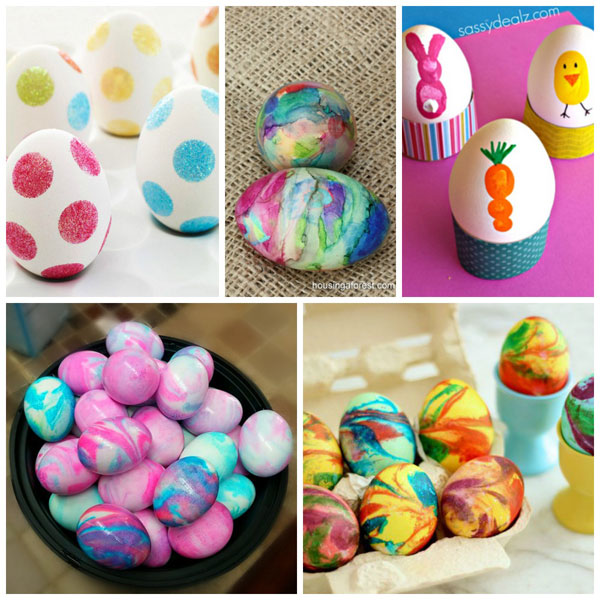 Ways for kids to decorate Easter eggs: shaving cream, fingerprints, sharpies and polka dots