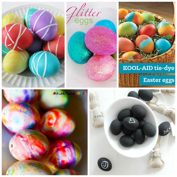 Ways for kids to decorate Easter eggs: rubber band, glitter, cool aid, chalk paint