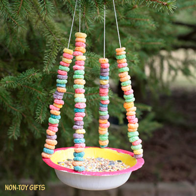 Paper bowl bird feeder for kids to make