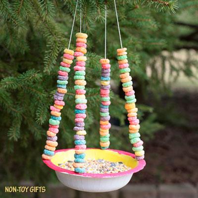 Paper bowl bird feeder for kids to make