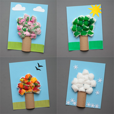 Four season tree craft with cotton balls