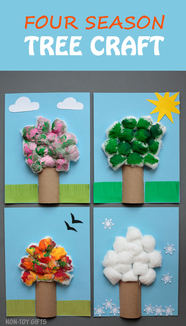 Four season tree craft for kids. Use paper roll and cotton balls to make an easy tree craft. Celebrate the seasons with this fun craft for preschoolers, kindergartners and older kids. Spring, summer, autumn and winter. | at Non-Toy Gifts
