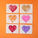 Monoprint heart cards for kids to make