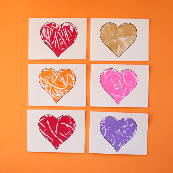 Monoprint heart card for kids to make for Mother's Day or Valentines. | at Non-Toy Gifts