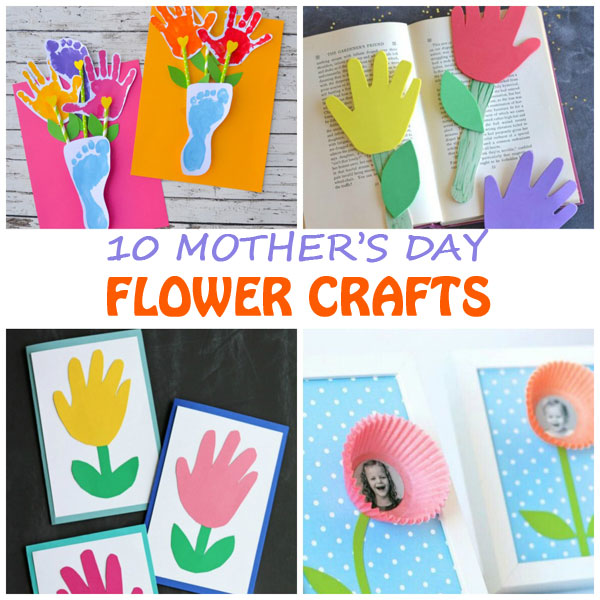 10 Mother's Day flower crafts for kids. Easy handprint and footprint flower bouquet, flower bookmark, handprint flower card and photo and cupcake liner flower card for mom. Easy crafts for toddlers, preschoolers and kindergartners. | at Non-Toy Gifts