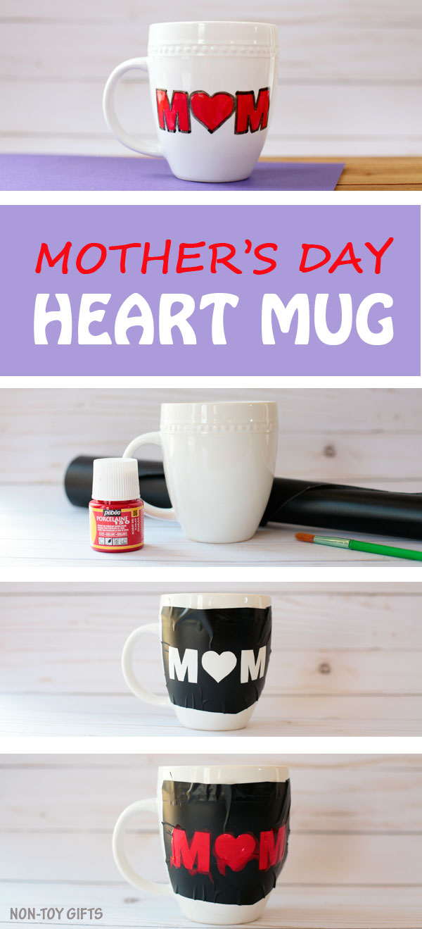 DIY mother's Day heart mug- easy gift for kids to make for their mom. Toddlers and preschoolers can make this craft. | at Non-Toy GIfts