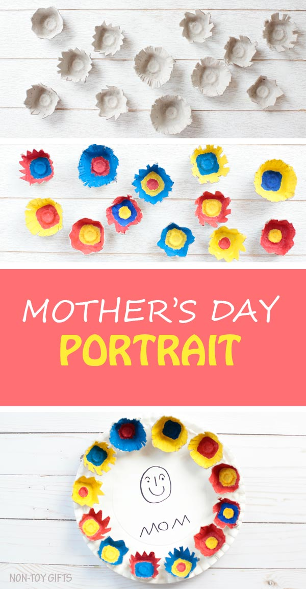 Easy Mother's Day portrait for kids to make for mom or grandma. Use a paper plate as canvas and decorate with egg carton flowers. Fun craft for preschoolers, kindergartners and older kids. It can make a great classroom craft. | at Non-Toy Gifts