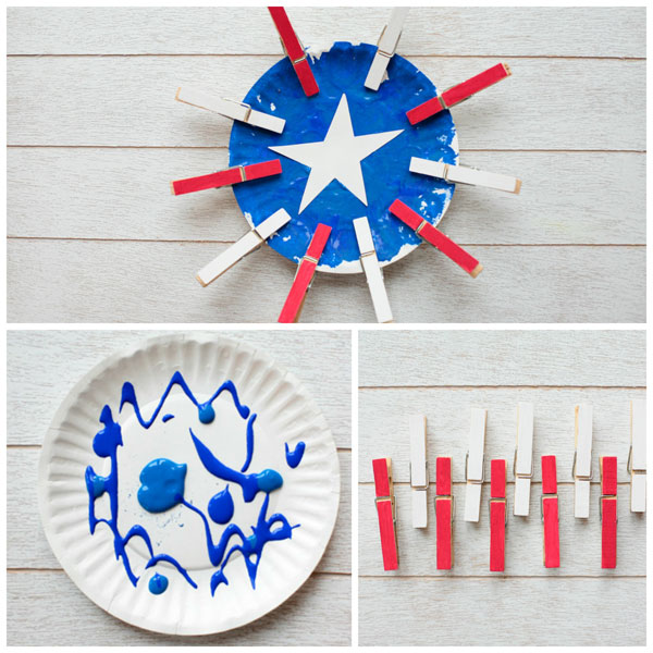 Paper plate American flag craft for kids. Easy 4th of July craft for toddlers, preschoolers, kindergartners and older kids. Pom pom painting and clothespin craft. | at Non-Toy Gifts