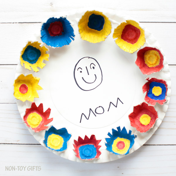 Paper plate Mother's Day portrait. Easy craft for kids to make and gift to mom or grandma | at Non-Toy Gifts
