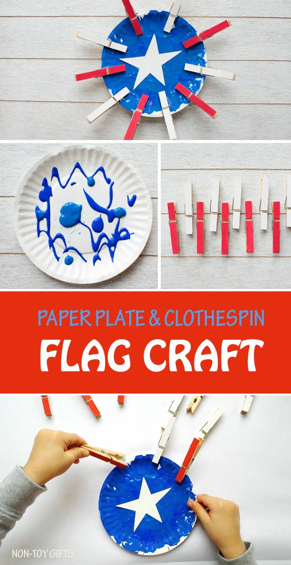 Paper plate flag craft for kids to celebrate 4th of July. Toddlers and preschoolers can practice fine motor skills. Paper plate and clothespin craft. #flagcraft #4thofJuly