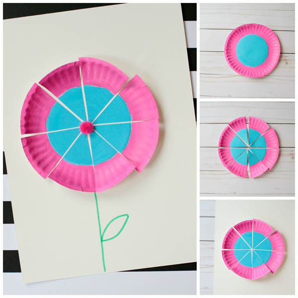 Paper plate flower craft for kids to make this spring | at Non-Toy Gifts