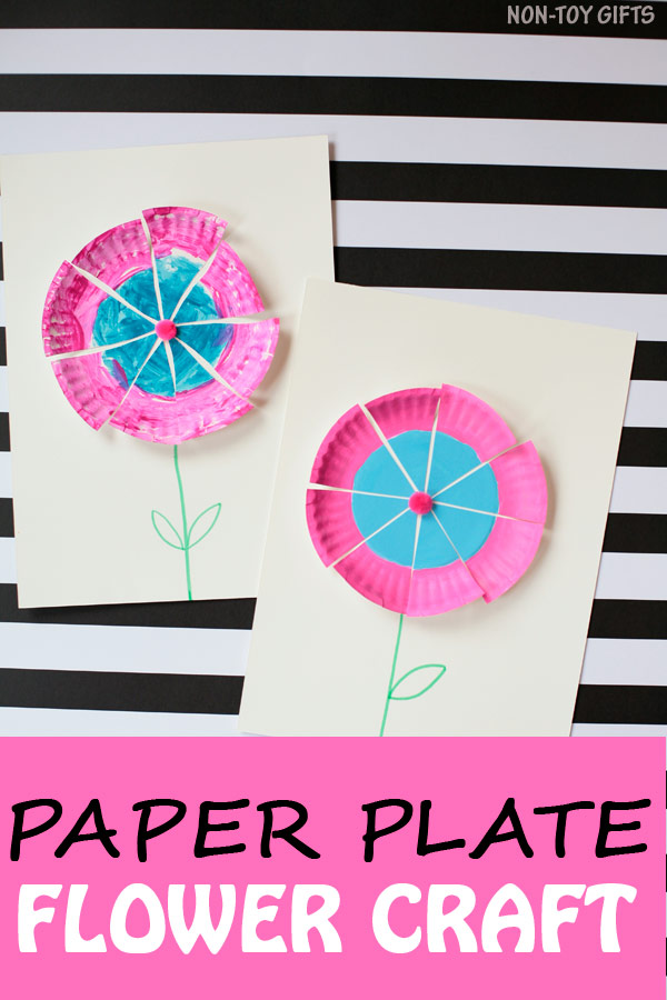 Easy paper plate flower craft for toddlers, preschoolers, kindergartners and older kids to make this spring and summer. Paint, cut and glue - fun! | at Non-Toy Gifts